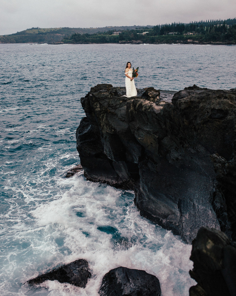 Seven Sacred Pools Waterfall Wedding Portraits Hana Wedding Photog