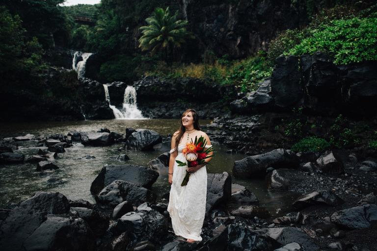 Seven Sacred Pools Waterfall Wedding Portraits