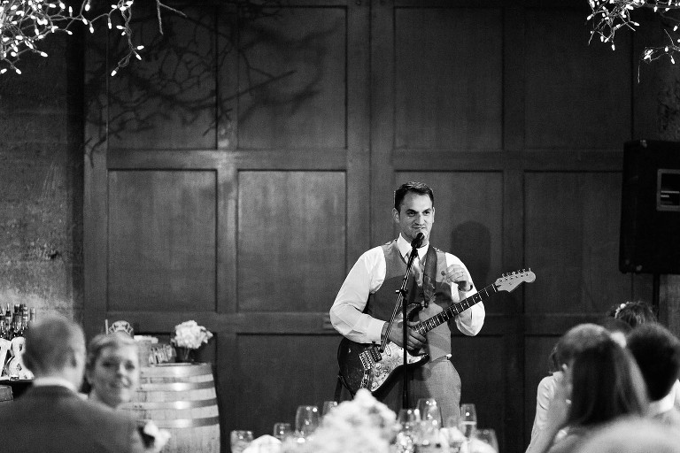 groom surprises bride with love song