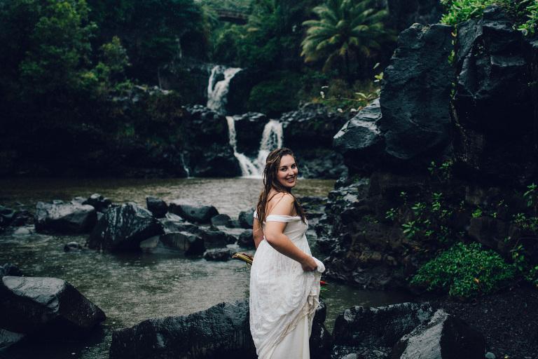 maui waterfall elopement oheo gulch