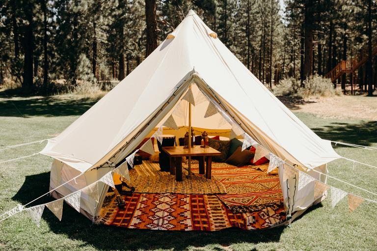 Moonrise Kingdom themed Wedding Decor. Bohemian wedding tent lounge & Camp Themed Chalet View Lodge Mountain Wedding Graegle California