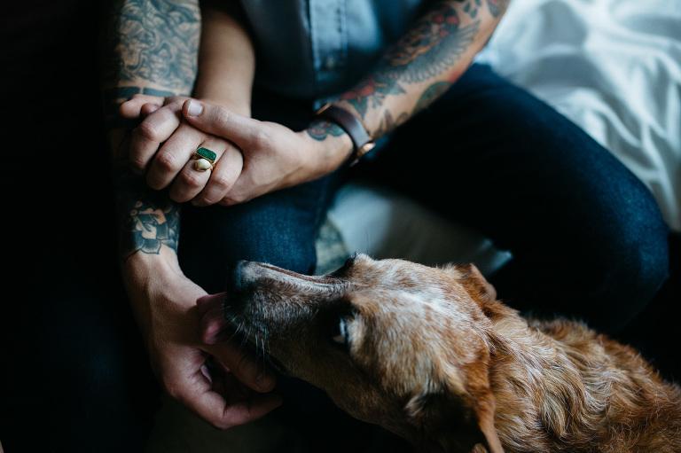tattooed couple engagement photos
