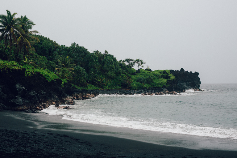 hana wedding black sand beach