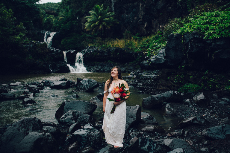 Seven Sacred Pools Waterfall Wedding Portraits