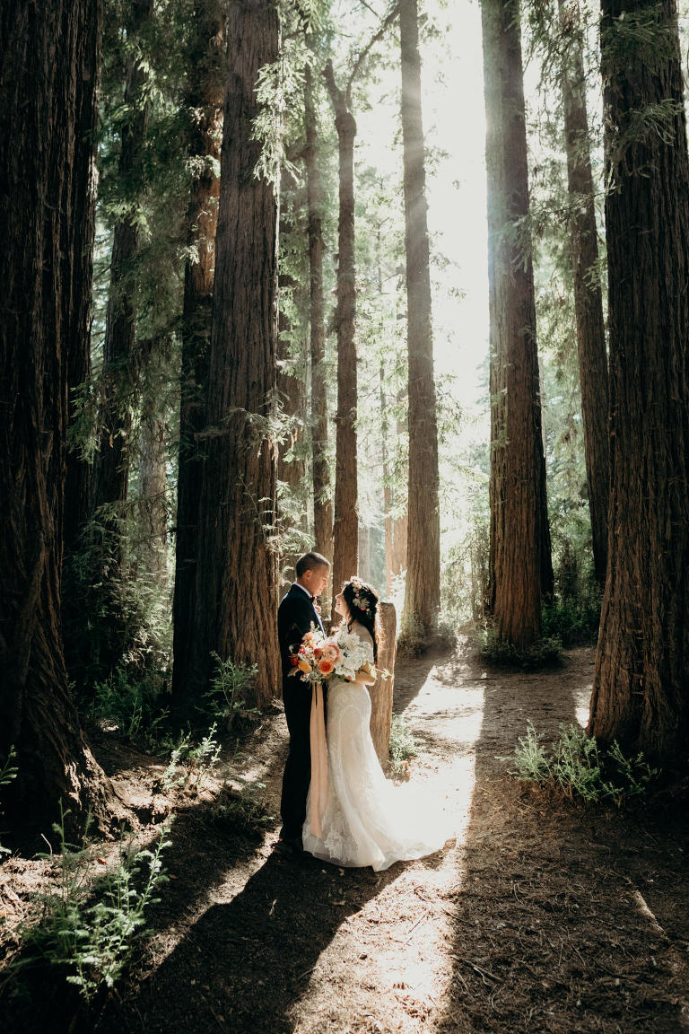 roaring camp wedding venue's ceremony site in the redwoods