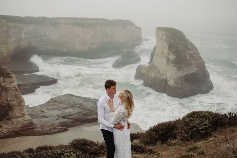 couple elopes on foggy bluffs on the California central coast