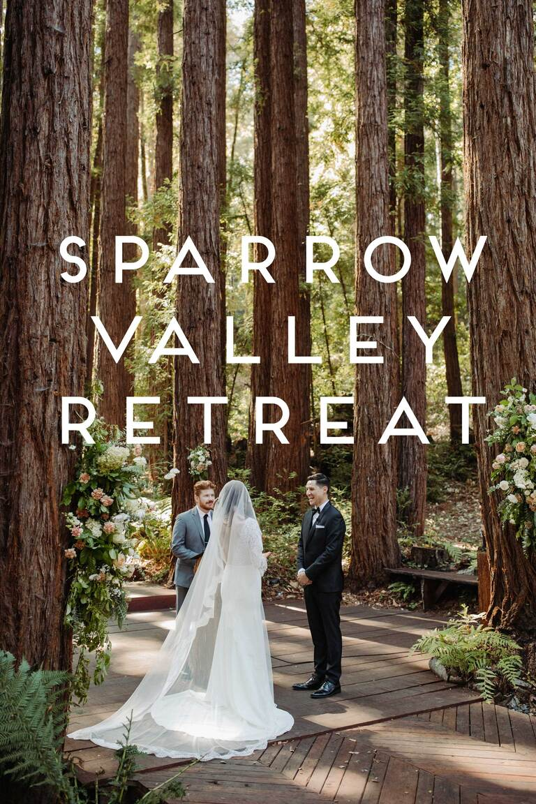 a bride and groom stand at the altar under the redwoods at Sparrow Valley Retreat, one of the best wedding venues in Santa Cruz